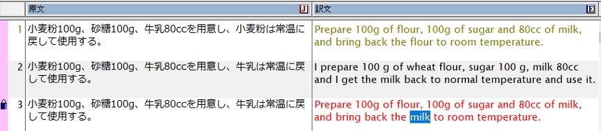類似文検索で得られた訳文を下地として適宜修正を行い、完成訳を作成します。訳文を編集すると文はロックされます